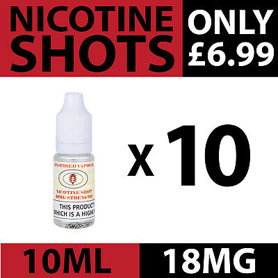Nic Shot Nicotine Shots, 18mg 10 x 10ml Bottles Genuine Flavourless Premium TPD