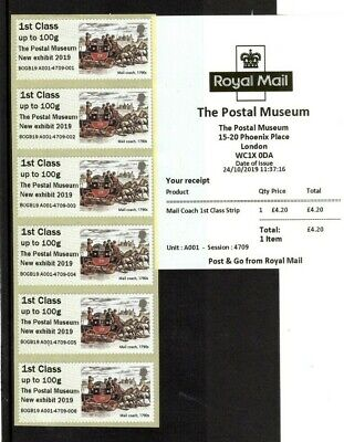 2019 GB Post and Go The Postal Museum - New Exhibit 2019 Overprint 1st Class