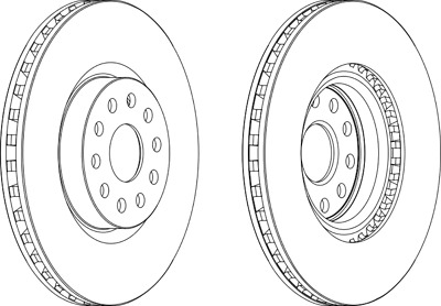 Pair Of Coated Brake Discs Ferodo DDF1062C