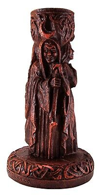 Triple Goddess Candle Holder - Wood Finish - Dryad Design - Wiccan Pagan Wicca