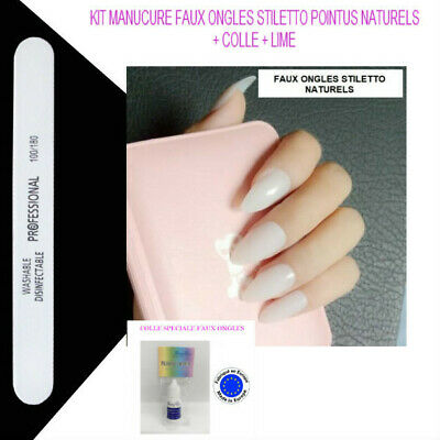 Faux Ongles Stiletto Naturel Capsule Tips A Coller Nail Art Manucure Man873