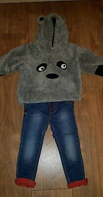 Infant Boys Next Fleece Hoodie Jumper With Jeans Size 1.5-2 Years