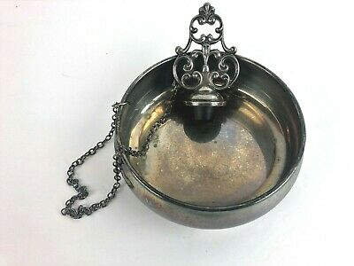 Oneida Wine Coaster Attached Topper Silverplate Bottle Stamped Filigree Vintage
