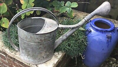 Vintage French Galvanised Watering Can With Rose
