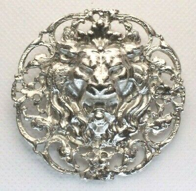 Brooch Pin - Male Lion Head - Filigree - Silver Tone