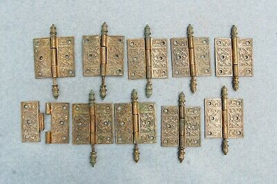 "Solid Brass Door Hinge Lot 10 Art Nouveau Chinoisery Butterfly 3 1/2"" Antique"