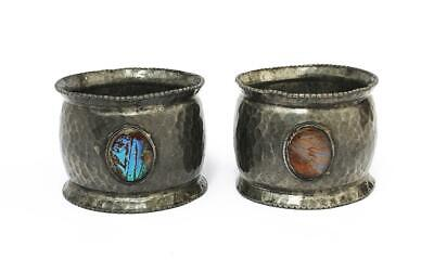 Arts & Crafts Movement HAMMERED PEWTER BUTTERFLY WING NAPKIN RINGS c1900
