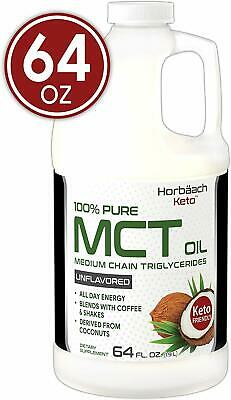 100% Pure MCT Oil   Huge Size   64 oz   Keto Unflavored   Blends with Coffee Tea