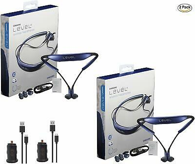 2x Pack Samsung Level U Neckband Bluetooth Wireless Earbuds with Car Charger