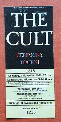 The Cult Unused Ticket Stub 1991 Germany Ceremony Tour