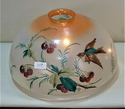 Antique Hand Painted Art Nouveau, Victorian Glass Lampshade For Table,Floor Lamp