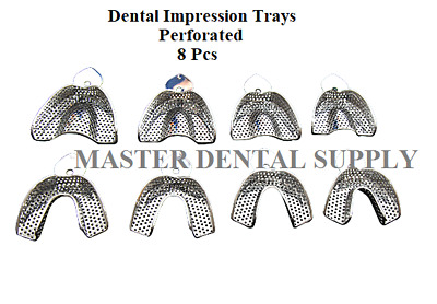 8 Dental Impression Trays METAL STAINLESS STEEL Perforated IMPRESSION MATERIAL