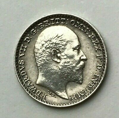 Dated : 1902 - Silver Coin - Maundy Penny - Maundy 1d Coin - King Edward VII