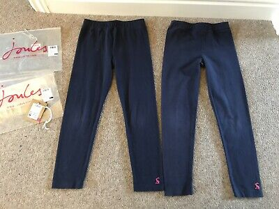 Joules Girls Emilia Sky Bright French Navy Leggings X2, Age 5 - Good Condition
