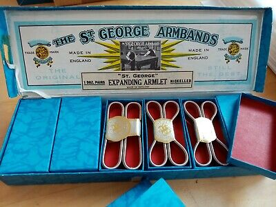 box of 12 vintage St Georges shirt cuffs armbands in original packaging box new