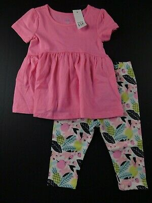 NWT Gap Toddler Girl/'s 2Pc Outfit LS Peplum Fleece Top//Legging 3Yrs MSRP$40 New