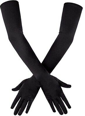 "New Long Black Elbow Satin 21"" Stretchy Evening Opera Party Dance Gloves"