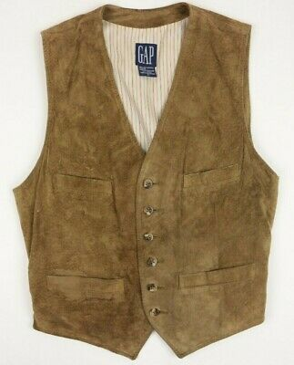 Vintage Gap Mens Vest Suede Leather Western Size S