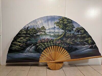 Vintage Oriental Fan - Scenic Large Hand Painted - Chinese, Japanese ??