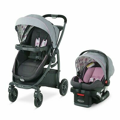 Graco Baby Girl Travel System with Click Connect Infant Car Seat Reversible New