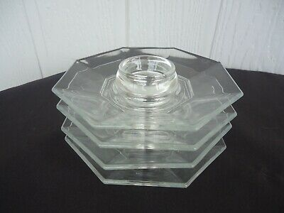 4 rare arcoroc octime octagon egg cups clear glass durand france