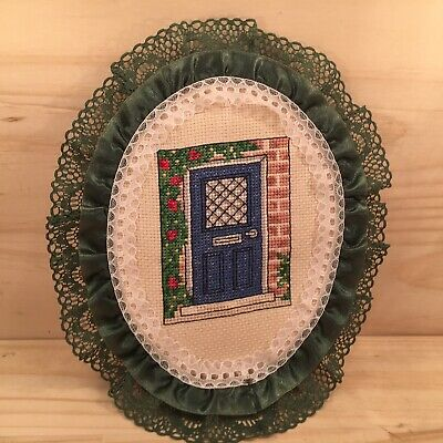 "BLUE DOOR ""Green"" Small Completed Cross Stitch in Frilly Embroidery Hoop"