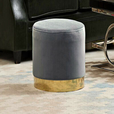 Grey Round Ottoman Pouffe Footstool Velvet Metal Trim Brass Base Salon Lounge