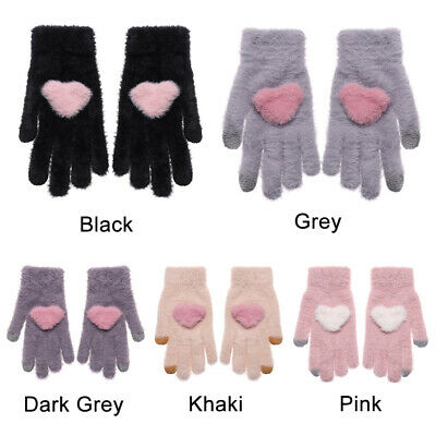 Fashion Cute Girls Heart Winter Wool Warm Knitted Gloves Full Finger Mittens~