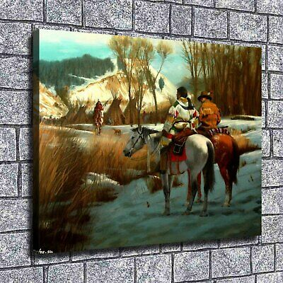 """12""""x16""""Hunter buffalo Paintings HD Print on Canvas Home Decor Wall Art Pictures"""