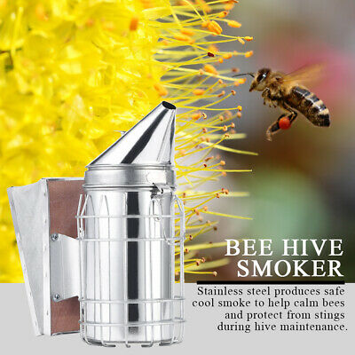 1pc Stainless Steel Bee Hive Smoker Large Beekeeping Equipment With Hanging Hook