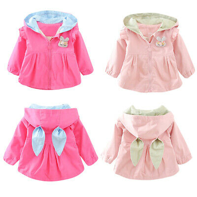 Toddler Baby Kids Girls Rabbit Ear Hooded Windproof Coats Jacket Cute Clothes