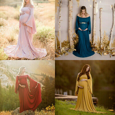 Women Pregnant Gown Sexy Photography Props Off Shoulders Maternity Solid Dress