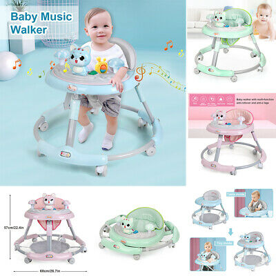 Steel Baby Walker First Steps Push Along Bouncer Activit Ride On Car Foldable