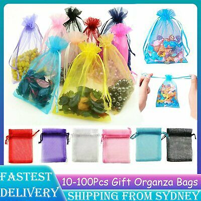 10-100Pcs 3 Size Organza Bag Sheer Jewellery Wedding Candy Packaging XMAS Bags