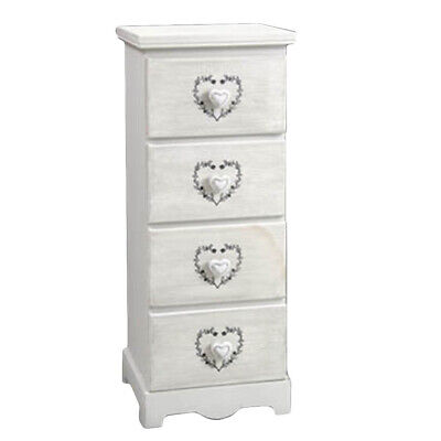 Kommode Mobil Holz Weiß 4 Schubladen 31x26xh80cm Shabby Chic t1019/WH