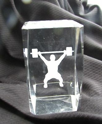 Laser 3D Etched Crystal Ornament Gift  Weightlifter Paper Weight