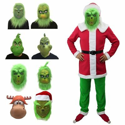 Santa Grinch Cosplay Costume Mask How the Grinch Stole Christmas Suit Outfits AU
