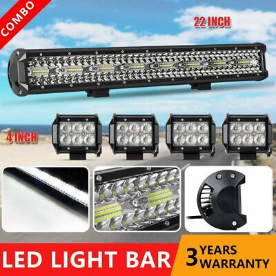23'' PHILIPS LED Light Bar Combo +4'' Flood Lamps Driving Truck 4X4 Offroad SUV