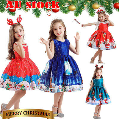 ✅Toddler Baby Girls Kid Christmas Print Sleeveless Swing Party Dresses +Headband