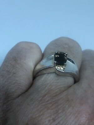 Vintage Smoky Topaz Deco Ring 925 Sterling Silver Size 7