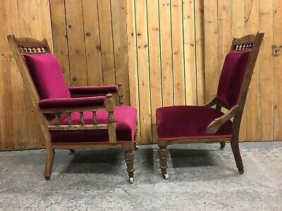 Lovely Pair of Vintage Late Victorian Library Fireside Armchairs. His & Hers.