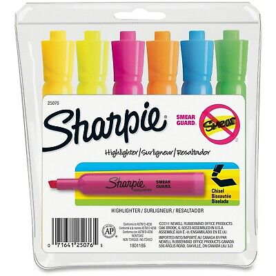 Sharpie Highlighter 25076 With Smear Guard, 6-Color Assortment