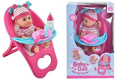 Baby Doll With High Chair Playset With Accessories Christmas Gift For Girls