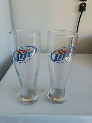 Miller Lite Tall Pilsner Glasses Set Of 2
