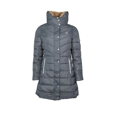 Mark Todd Ladies Deluxe Long Padded Coat Grey/Silver XS-XL