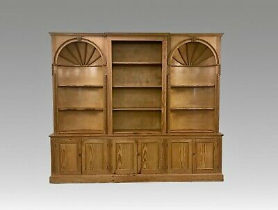Extra large 9FT 20th C Pine library alcove bookcase - cupboard #2131L