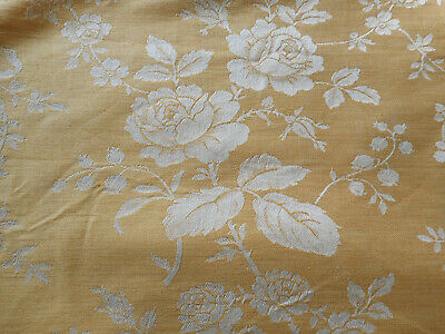 Antique Vtg. French Maize Yellow Garlands Roses Cotton Linen Ticking Fabric
