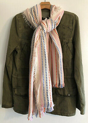 New Madewell Oversized Scarf Shawl Wrap Dotted Stripe Ivory Multi Color