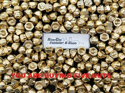(5) 3/4-10 Brass Acorn / Dome / Cap Hex Nut 3/4x10 Nuts 3/4 x 10 Nuts