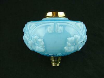 Antique Overlaid Moulded Turquoise Glass Oil Lamp Font, Polished Brass Fittings
